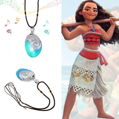 Funny Princess Moana Necklace Glowing Music Cosplay Heart of Te Fiti Pendant New