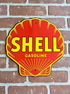 SHELL GASOLINE AND OIL PORCELAIN Pump PLATE LUBESTER SIGN. FAST Shipping 😎