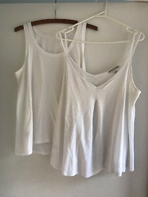 Country Road Women's White Singlet Tops Size M Excellent Condition