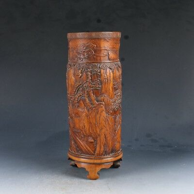 Vintage Antique Bamboo Hand-carved Pine & mountain  Brush Pot  EP0135