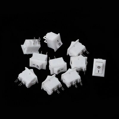 10Pcs 2 Pin 10x15mm SPST ON/OFF Soldering Terminal Boat Rocker Switch 3A AC 250V
