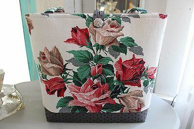Roses Tote ~ Vintage Barkcloth ~ Polka Dots & Rhinestone Button Too!