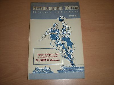 Peterborough United V ALL STARS XI (Managers) Football Programme 8/4/57 Testimon