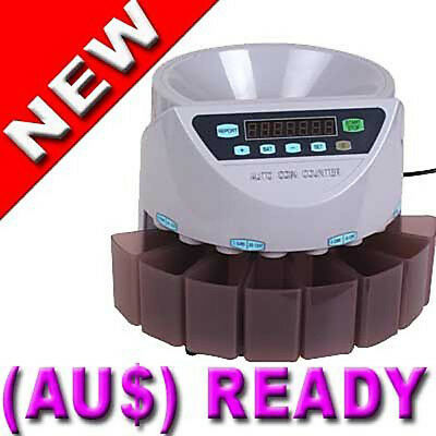 Brand New Australian Automatic Coin Counter Two counting modes 355 x 330 x 266mm