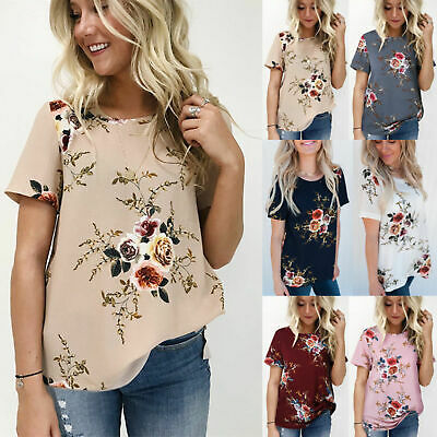UK Summer Womens Casual Tops Blouse Short Sleeve Crew Neck Floral T-Shirt Ladies