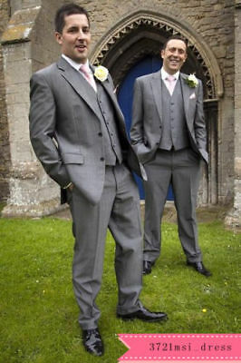 Groom Tuxedos Notch Lapel Best Man Suit Grey Groomsman Men's Wedding Party Suits