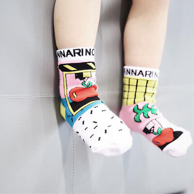 1Pair Lovely Children Graffiti Socks Boys Girls Asymmetrical Anti-Slip Socks new