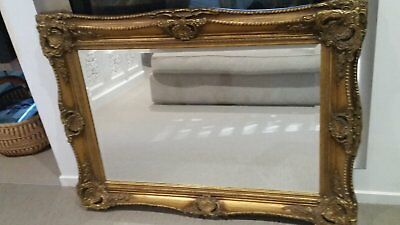 Antique French Louis XV Bevelled Gold Mirror