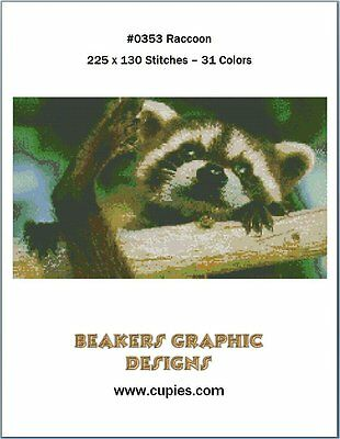 RACCOON Counted Cross Stitch detailed #0353