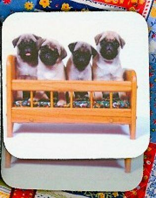 PUG PUPPIES Rubber Backed Coasters #0923