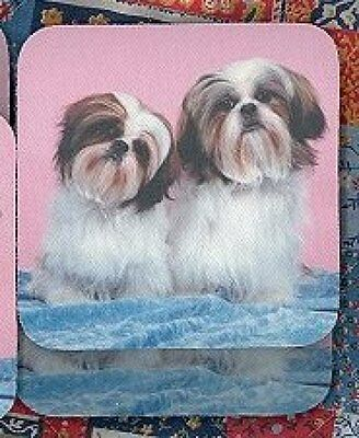 SHIH TZU PUPPIES Rubber Backed Coasters #0899