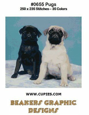PUGS BLACK & FAWN Counted Cross Stitch detailed #0655 pug