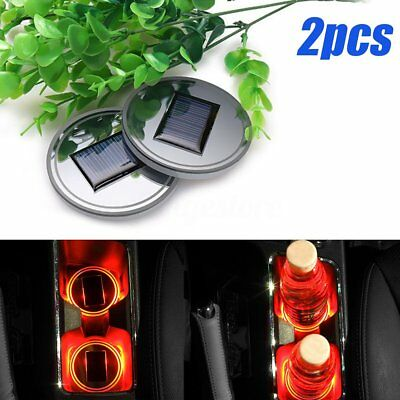 2 x Solar Energy Cup Holder Red LED Light Bottom Pad Mat Cover Trim For All Cars