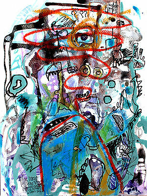 The man from the future - Mista su base multipla - dipinto astratto art painting