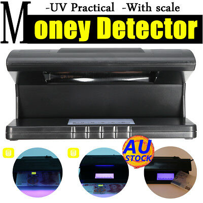 AU UV LED Light Detector Forgery Money Tester Dollar Checker Bank Note w/ Scale