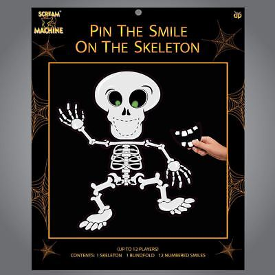 Halloween Pin the Smile on the Skeleton Family Pub Party Game Like Donkey Tail