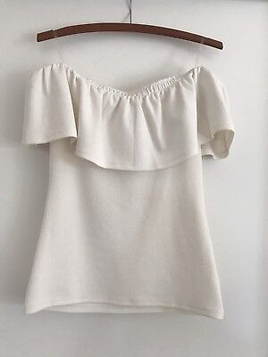 Seed Women's White Off Shoulder Top Size S Excellent Condition