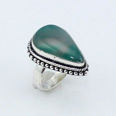 Botswana Agate Fashion Jewelry  .925 Silver Plated Ring 6.5 S8230