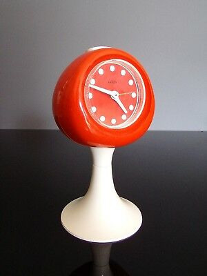 KAISER clock alarm orange/white tulip reveil tulipe space age 70's vintage