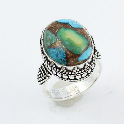 Tibetan Copper Turquoise Fashion Jewelry .925 Silver Plated Ring  S12327