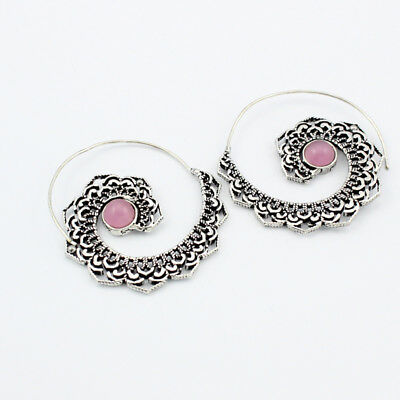Rose Quartz  Fashion Jewelry .925 Silver Plated Earrings  S12165
