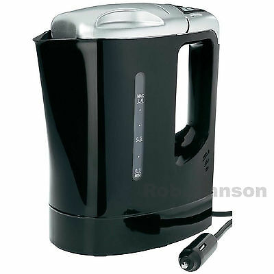 24V Volt 1 Litre 300W Fast Boil HGV LGV Truck Boat Electric Travel Kettle Black