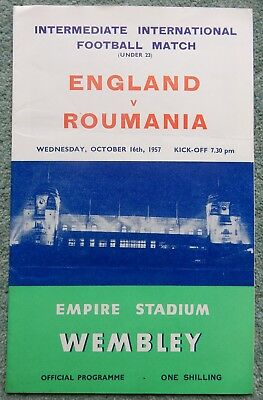 ENGLAND  v  ROUMANIA  16th October 1957  Under 23 International