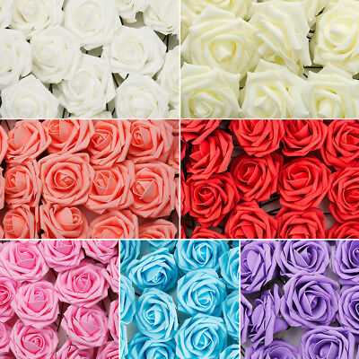 100 Colourful Foam Roses Flowers Wedding Bride Bouquet Party Flowers Home Decor