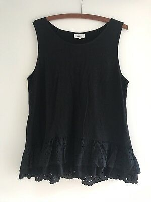 Seed Women's Summer Black Peplum Lace Top Size L Excellent Condition