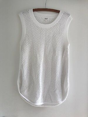 Seed Women's Summer Crochet Knit White Top Size M Excellent Condition