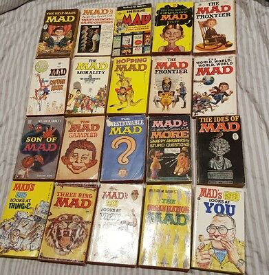 MAD Magazine Paperback Books Lot of 20 from 1950s 1960s 1970s Vintage Rare