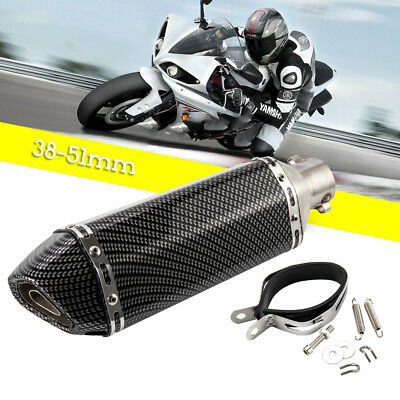 38-51mm Motorcycle GP Exhaust Pipe Muffler Carbon Fiber Removable Silencer