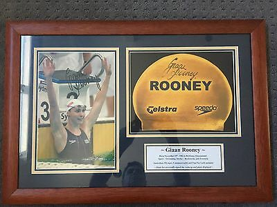 Signed - Giaan Rooney Swimmer Olympic Cap - Framed