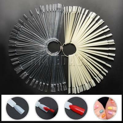 50pcs Nail Art Clear False Fan Display Wheel Polish Practice Color Pop Tip Stick