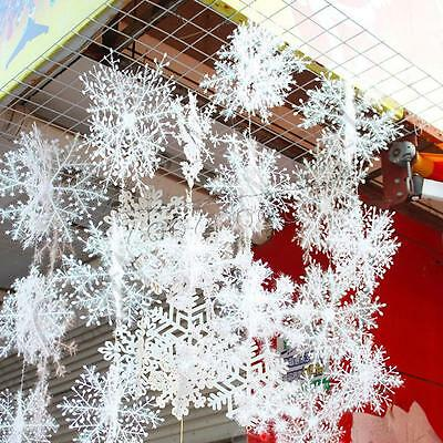 30PCS Christmas White Snow Snowflakes Decorations Xmas Tree Party Ornaments