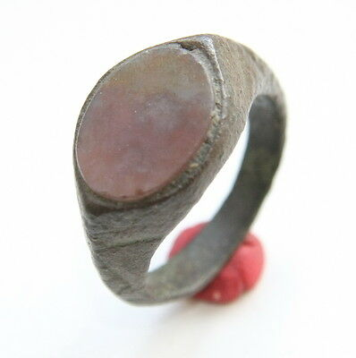 Ancient Medieval Bronze Finger Ring With Inlay (JUN10)