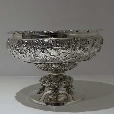 Stunningly Important 19th Century Victorian Antique Sterling Silver Rose Bowl