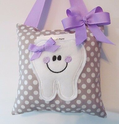 Tooth Fairy Pillow Gray Polka Dot with purple