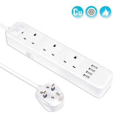 3 Way 4 USB Extension Lead Outlet Power 351910942824