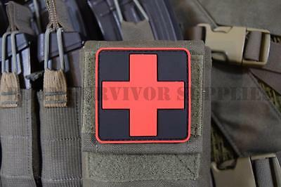 MEDIC CROSS FIRST AID KIT PVC PATCH - Red & Black Trauma Pouch Marker Badge