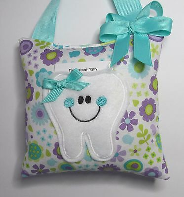 Tooth Fairy Pillow Floral with Aqua