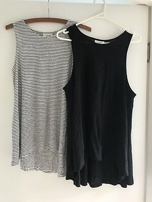 Seed Women's Black Striped Linen Singlet Tops Size M Excellent Condition