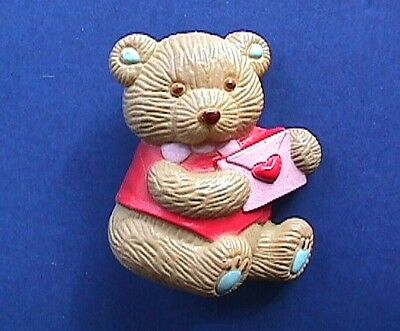 BUY1&GET1@50%~Gibson PIN Valentines BEAR BOY BROWN Teddy Card HEART Vtg Brooch