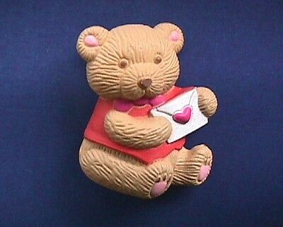 BUY1&GET1@50%~Gibson PIN Valentines BEAR GIRL Teddy BROWN +Card HEART Vtg Brooch