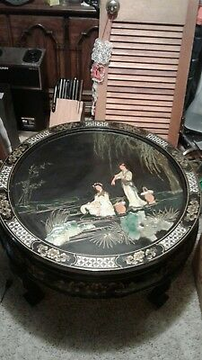 vintage black lacquer mother of pearl round chinese coffee table.