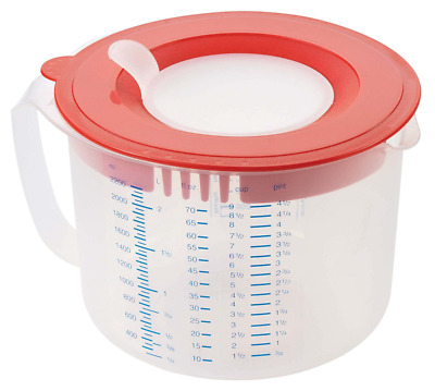 """Leifheit """"Measure & Store"""" 3 In1 Measuring Jug, Transparent/Red, 2.2 Litre"""