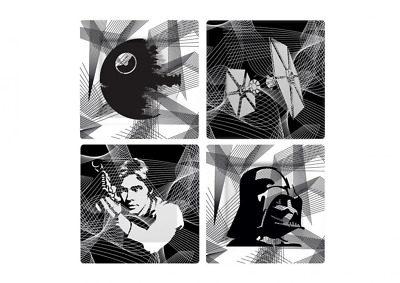 "Star Wars ""Intergalactic"" Plate Set, Grey, Set of 4"