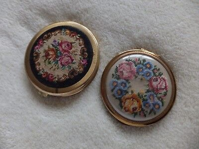 Vintage Petit Point Powder / Cosmetic Compacts x2
