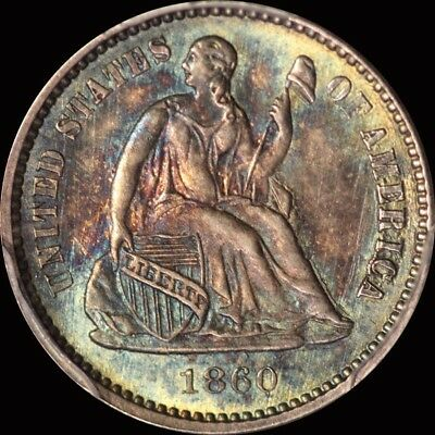1860 Seated Half Dime PCGS MS 64 TONED