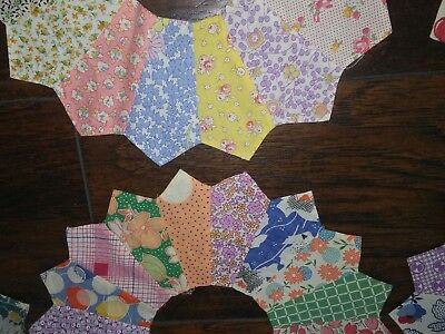 Vtg Old Lot 15 DRESDEN PLATE Calico Quilt Squares FEEDSACK Fabric Block Pieces-4
